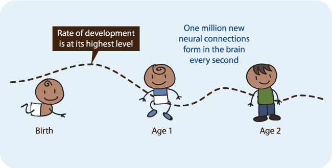 Rate of Neural Connection Development from Birth to Age 2
